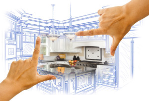 Hands Framing Custom Kitchen Design Drawing and Photo