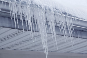 Icicles hanging on gutter and roof in winter
