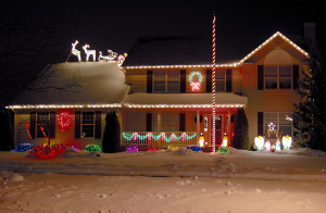 a house decorated with christmas lights.